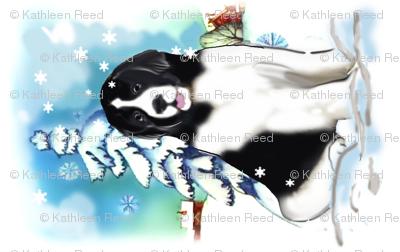 Newfoundland dog winter scene
