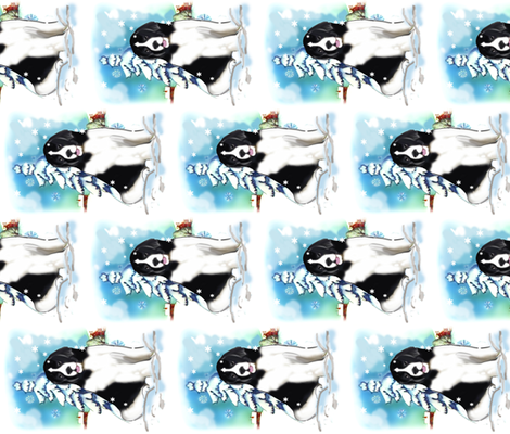 Newfoundland dog winter scene  fabric by dogdaze_ on Spoonflower - custom fabric