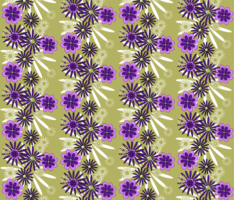 multi flowers on olive fabric by mojiarts on Spoonflower - custom fabric