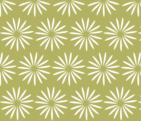 white flower on olive fabric by mojiarts on Spoonflower - custom fabric