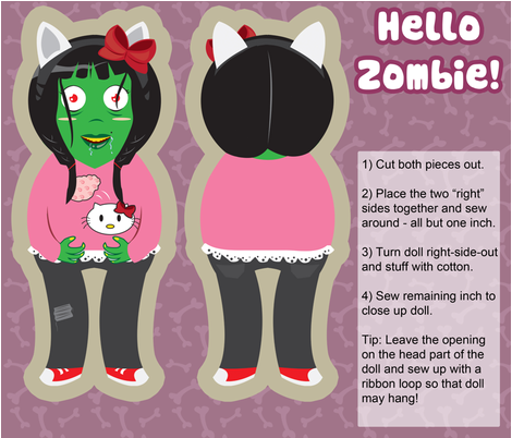 Hello Zombie fabric by forgotten_fortune on Spoonflower - custom fabric