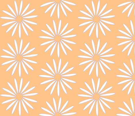 white flower on tangerine 2 fabric by mojiarts on Spoonflower - custom fabric