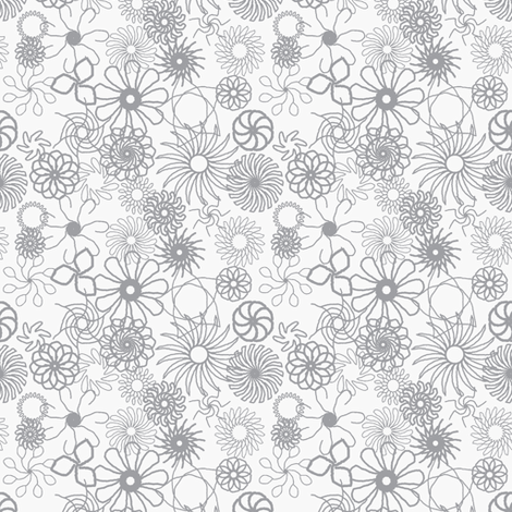 Rosaces grises fond blanc fabric by bebcorbi on Spoonflower - custom fabric