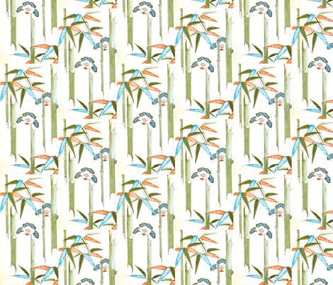 Bamboo flowers fabric by quinnanya on Spoonflower - custom fabric