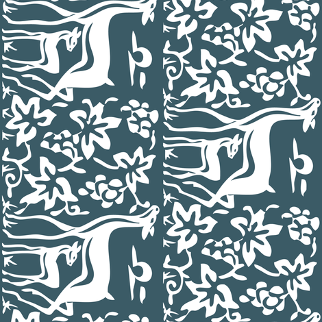 Arts & Crafts deer and grapes vector-DK-BLUE-195 fabric by mina on Spoonflower - custom fabric