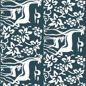 Arts & Crafts deer and grapes vector-DK-BLUE-195