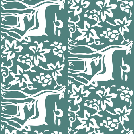 deer-grapes-close-vector-white-dk-bluegreen-75 fabric by mina on Spoonflower - custom fabric
