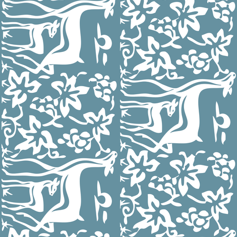 deer-grapes-close-vector-white-mid-BLUE-195 fabric by mina on Spoonflower - custom fabric