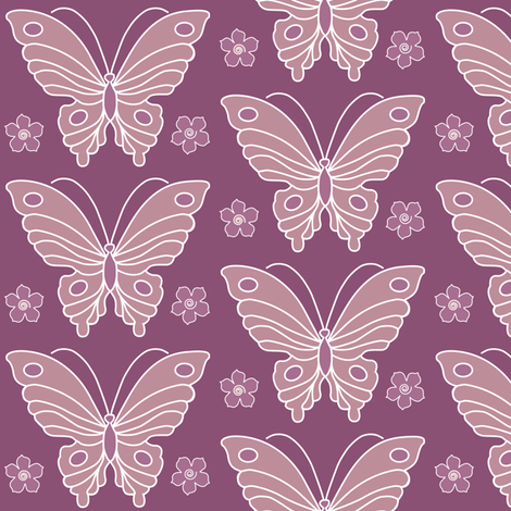 Butterfly-2-vector-NEW-chevreul-EGGPLANT-325-peach-rose-344-325-w-fls fabric by mina on Spoonflower - custom fabric