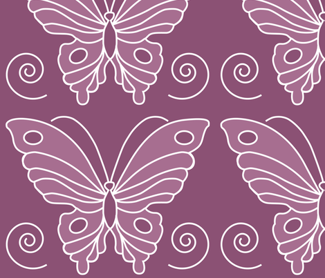 183-butterfl-2-vector-NEW-chevreul-EGGPL325-rose325 fabric by mina on Spoonflower - custom fabric