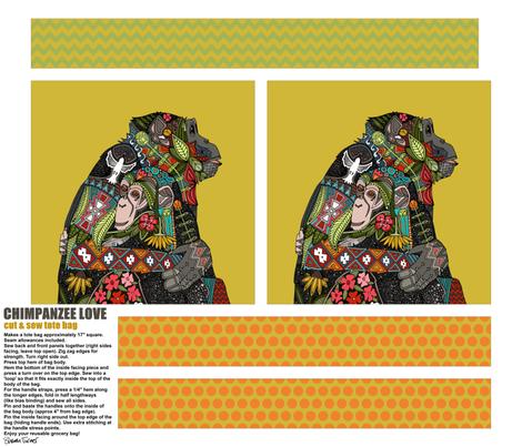 CHIMPANZEE LOVE TOTE BAG fabric by scrummy on Spoonflower - custom fabric