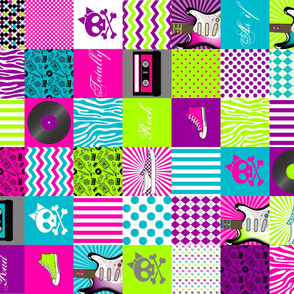 Girls Rock Cheater Quilt or Quilting Squares