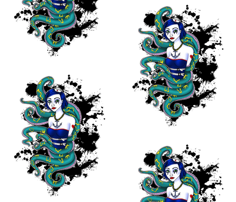 tentacle sailor girl fabric by dirtangel on Spoonflower - custom fabric