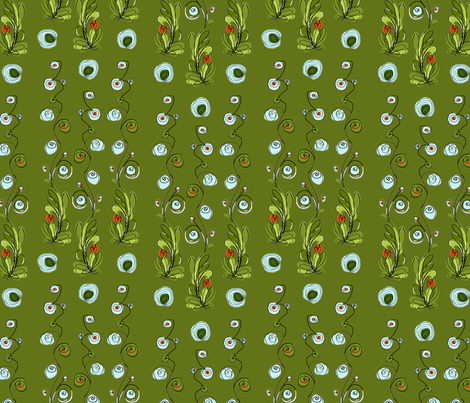 flower coordinate to Rose fabric by kociara on Spoonflower - custom fabric