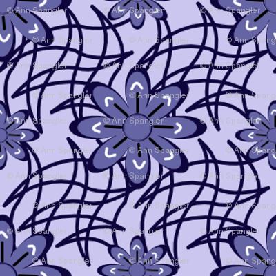 Blue Flowers on a Web