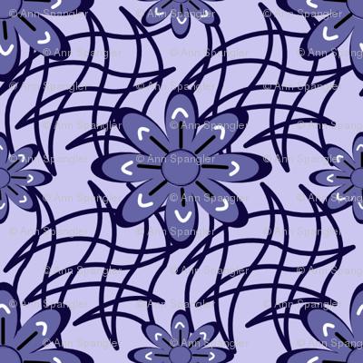 Blue Flower on a Web