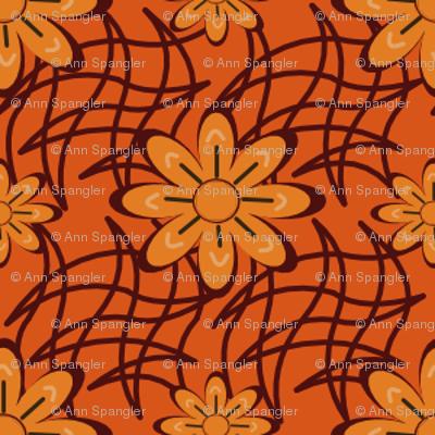 Smaller Orange Flowers on a Web