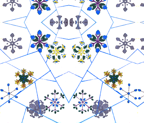 Flower-snowflakes fabric by quinnanya on Spoonflower - custom fabric