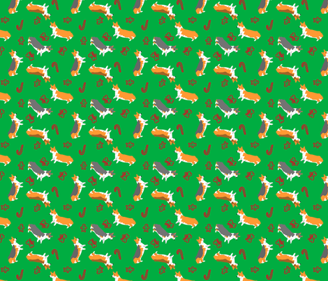 Ditzy seasons - Christmas Pembrokes fabric by rusticcorgi on Spoonflower - custom fabric