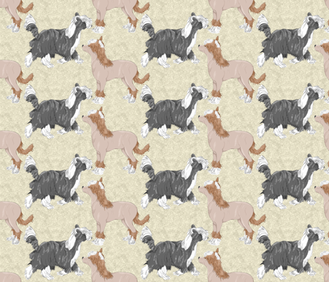 Chinese crested puppies - tan fabric by rusticcorgi on Spoonflower - custom fabric