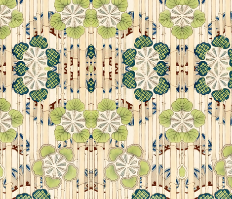 Bamboo & green flowers fabric by quinnanya on Spoonflower - custom fabric