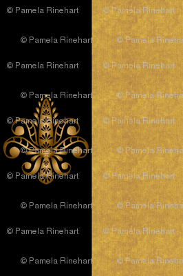 Fleur de Lis on Black w Gold Stripes 1 inch