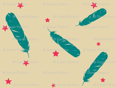 Tossed Teal Feathers