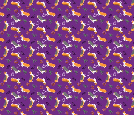 Ditzy seasons - Halloween Pembrokes fabric by rusticcorgi on Spoonflower - custom fabric