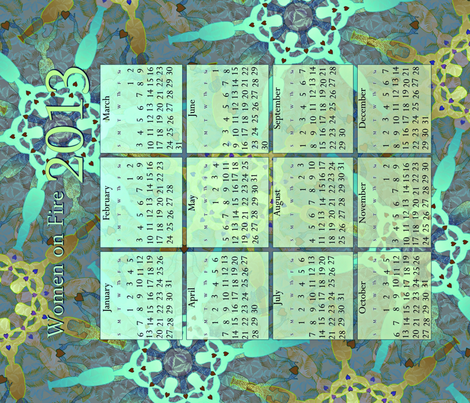 2013_CALENDAR_TOWEL - Women on Fire-aqua fabric by glimmericks on Spoonflower - custom fabric