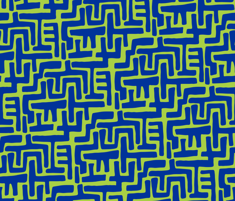 Architectually eighties (blue-lime) fabric by bippidiiboppidii on Spoonflower - custom fabric