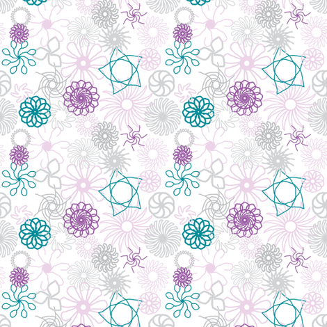 Rosaces bleu/vert et violet fabric by bebcorbi on Spoonflower - custom fabric