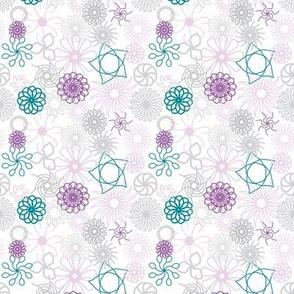 Rosaces bleu/vert et violet