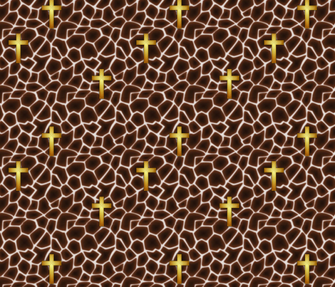 giraffe_cross_gold fabric by glimmericks on Spoonflower - custom fabric