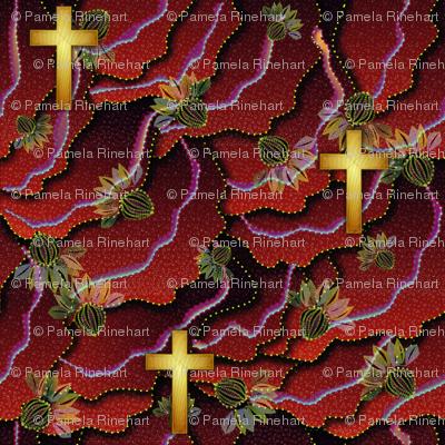 cross_gold_ocean_flowers_red