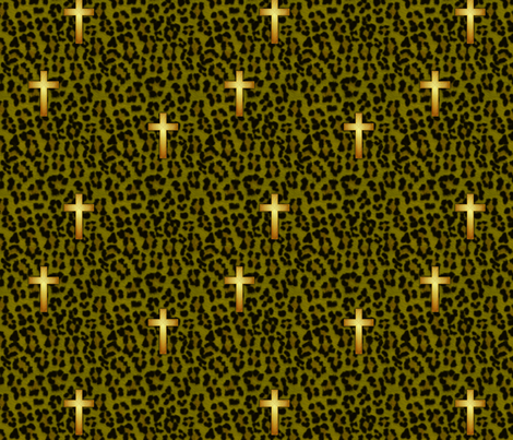 leopard_cross_olive fabric by glimmericks on Spoonflower - custom fabric