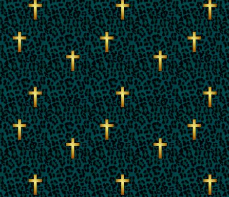 leopard_cross_teal fabric by glimmericks on Spoonflower - custom fabric