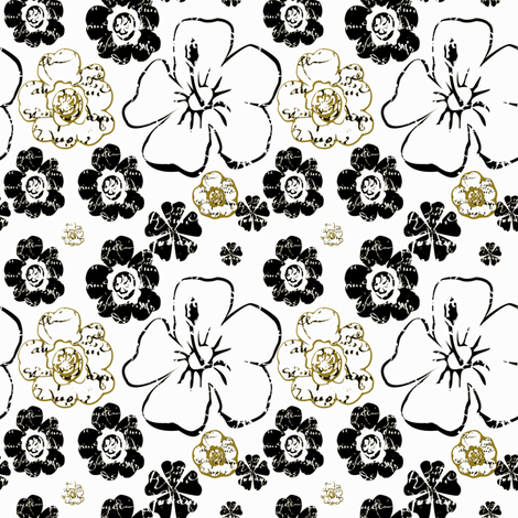 French script floral with gold fabric by karenharveycox on Spoonflower - custom fabric