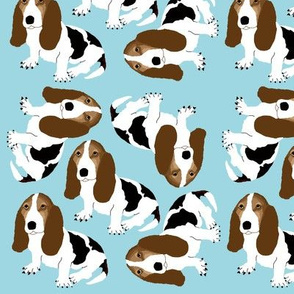 Basset Hound on Light Blue (Small)