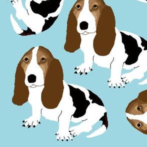 Basset Hound on Pale Blue (Large/Macro)
