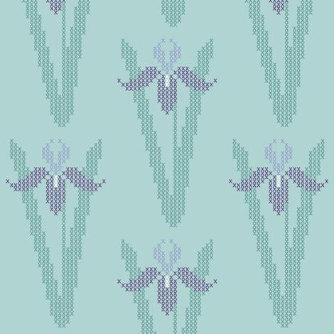 Cross-stitch iris garden embroidery pattern and cheater fabric