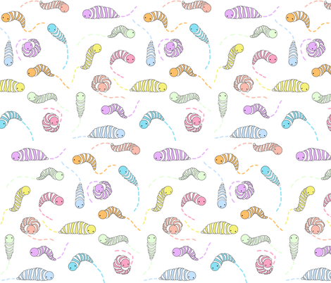 wormtrails_white fabric by ilikemeat on Spoonflower - custom fabric
