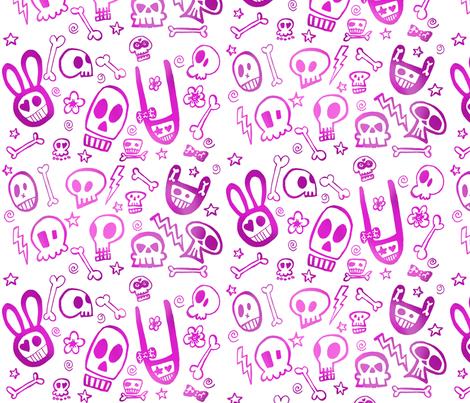 FunSkulls Purple fabric by lauralvarez on Spoonflower - custom fabric