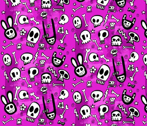 FunSkulls Purple Background fabric by lauralvarez on Spoonflower - custom fabric