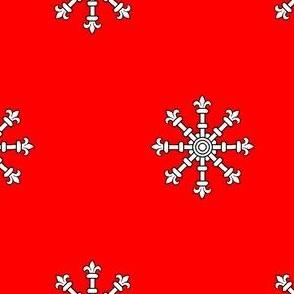 Gules, an Escarbuncle Argent