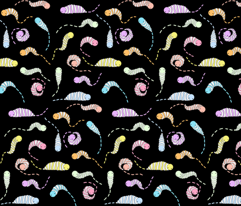 wormtrails_black fabric by ilikemeat on Spoonflower - custom fabric