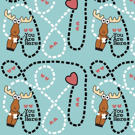 Moose Tracks Map fabric by kel_marie_n on Spoonflower - custom fabric