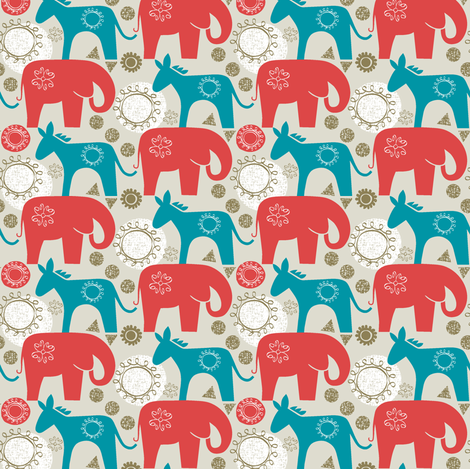 left and right-small scale elephant donkey fabric by ottomanbrim on Spoonflower - custom fabric
