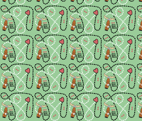Moose Tracks Map Green fabric by kel_marie_n on Spoonflower - custom fabric