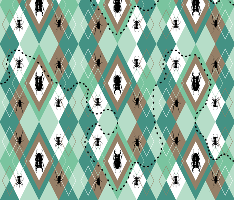 Beetles Argyle Sunday Best fabric by smuk on Spoonflower - custom fabric