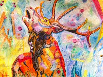 Rutting red stag